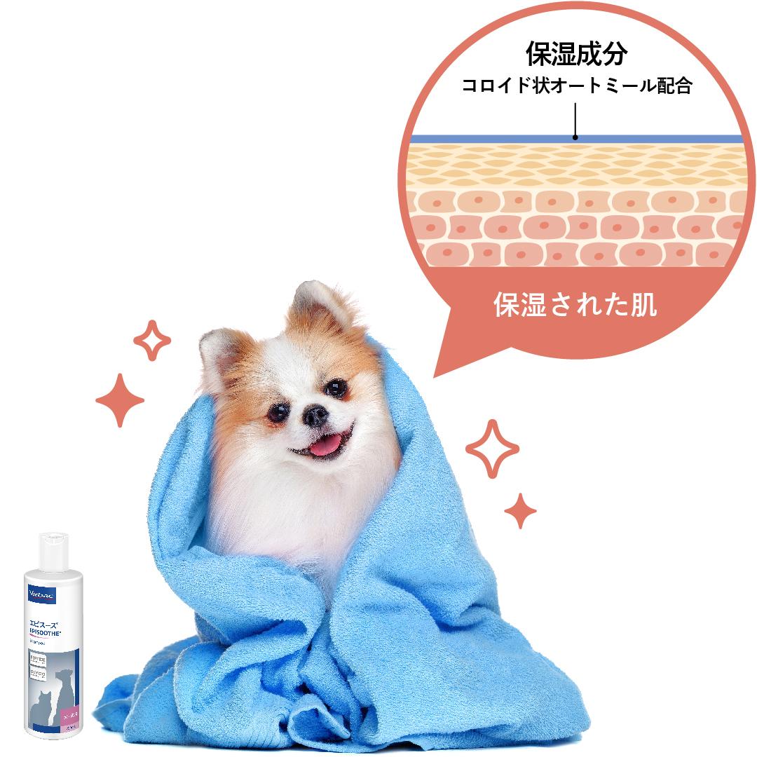 乾燥からくるかゆみがある犬には、保湿成分コロイド状オートミールを配合したエピスースがお薦め